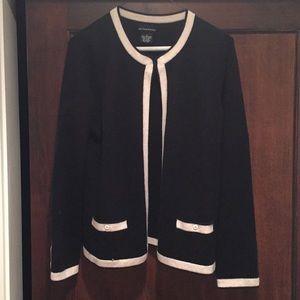 Sutton Studio Cashmere cardigan, Black/Cream